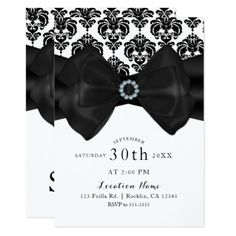 Black & White Damask Bow Glam Sweet 16 Party Card - party gifts gift ideas diy customize