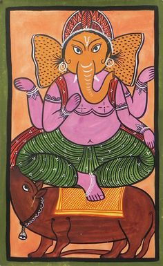 Ganesha - Bengal Folk Art or Kalighat Painting Commentaire : copie récente Indian Artwork, Indian Art Paintings, Indian Folk Art, Ganesha Painting, Ganesha Art, Lord Ganesha, Madhubani Art, Madhubani Painting, Children Painting