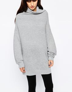 Image 3 ofPaisie Cocoon Roll Neck Rib Jumper with Blouson Sleeve