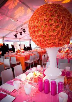 Mod Orange, Pink and White Gerbera Society Gala ~ Ball on The Square, Philadelphia {Evantine Design, EventQuip, Eventions Productions, Photo: Legate}