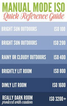 Manual Mode ISO Quick Reference Guide for beginner photography.