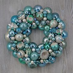 Faded Aqua and Blue Christmas Ornament Wreath with Vintage Distressed Shiny Brites and Fancy Indents