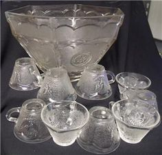 punch bowl by Federal glass Punch Bowl Set, Crystal Glassware, Dinnerware Sets, Stars, Crystals, Antiques, Eagle, American, Bowls