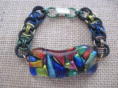 Fused Glass Dichroic Bracelet with Stretchy Band by glassygirls777, $30.00