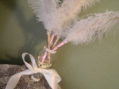 4 Elegant Ostrich Feather Pens topped in by FEATHERSnPEARLS, $88.00