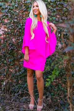 Shopping In Beverly Hills Shift Dress in Hot Pink-$46