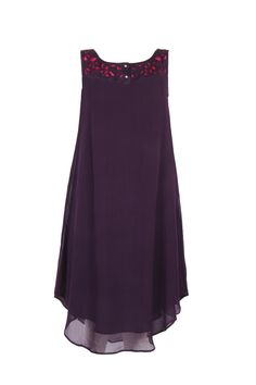 Purple Solid Kurta In Poly Georgette; U Neck With Cutwork Detail On The Yoke; Sleeveless; 42 Inches In Length #Wishful #Clothing #Fashion #Style #Kurta #Wear #Colors #Apparel #Semiformal #Print #Casuals #W for #Woman