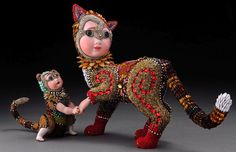 Betsy creates unusual sculptural mosaics using beads and antique doll parts. View images of artist Betsy Youngquist's artwork. Tribal Women, Wow Art, Paperclay, Doll Parts, Mixed Media Artists, Doll Face, Mosaic Art, Bead Art, Oeuvre D'art