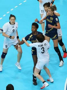Hyobi Jo of Korea celebrates after scoring in the women's Handball preliminaries Group B - Match 2 between Spain and Korea on Day 1 of the London 2012 Olympic Games at the Copper Box on 28 July    http://media.jtbc.co.kr/2012London