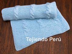 Pantalón y cobija con trenzas para bebés tejido en dos agujas o palitos!