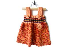 Knitted Baby Girl Dress  Orange Multicolor 9  by SasasHandcrafts