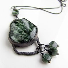 Seraphinite and sterling silver one of a kind necklace