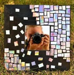 How To Recycle Your CDs And Make A Mosaic CD Mirror  This would make some awesome wall art. Maybe over distressed wood?