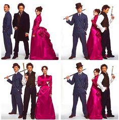 "Robert Downey Jr., Jude Law and Rachel McAdams - the cast of ""Sherlock Holmes"" (2009)"