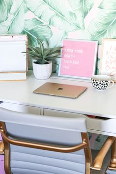 Blogger Office | Palm Print Wall | Pink Office | Palm Print Decor | Blog Office | White and Gold Desk | PB Teen