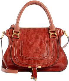 5ba83faa13 Chloé Marcie Snake Embossed Leather Satchel Chloe Bag, Orange Bag, Fashion  Bags, Fashion