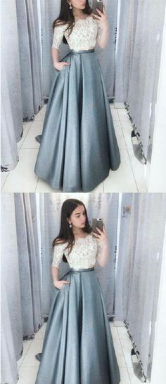 cae0acbf70 Dramatic Two Off Shoulder 3 4 Sleeves Grey Prom Dress with Pockets Grey  Prom Dresses