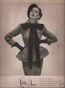 1959 LILLI ANN women's fabric of France poodle cloth suit vintage fashion ad Vintage Vogue, Vintage Glamour, Vintage Fashion 1950s, Vintage Couture, Mode Vintage, Vintage Beauty, Retro Fashion, 1950s Style, Dorian Leigh