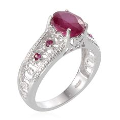 Niassa Ruby (Ovl 3.60 Ct), Ruby Ring in Platinum Overlay Sterling Silver (Size 6) TGW 3.76 Cts. | Rubyniassa | Ruby | Birthstones | Promotions | Online Store | Liquidation Channel Site