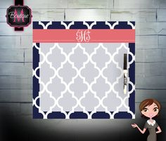Custom Monogrammed Dry Erase Memo Board, Choose Your Colors on Etsy, $24.99