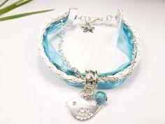 bracelet liberty vichy turquoise ruban satin cordon tressé bleu oiseau idée cadeau : Bracelet par kintcreations
