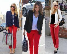 Vocês já devem ter percebido que as calças vermelhas invadiram as vitrines e vieram com tudo esse ano! Eu estou adorando a tendência e já ad...
