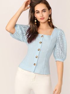 To find out about the Single Breasted Embroidery Eyelet Sleeve Shirt at SHEIN, part of our latest Blouses ready to shop online today! Fancy Kurti, Looks Chic, Dressy Tops, Beautiful Blouses, Western Outfits, Types Of Sleeves, Shirt Sleeves, Shirt Blouses, Blouse Designs