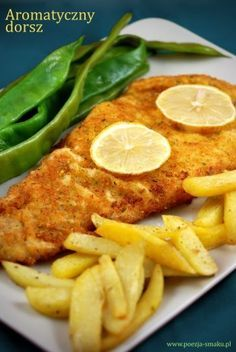 Dorsz w aromatycznej panierce - Cod in aromatic breadcrumbs (recipe in Polish) Cod Recipes, Dinner Recipes, Fish Dishes, Main Dishes, Easy Cooking, Cooking Recipes, Tasty, Yummy Food, Polish Recipes