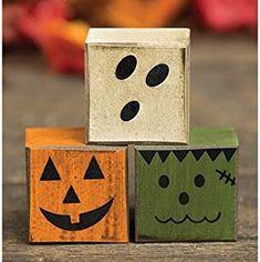 Halloween Boo Friends Wood Blocks - Set of 3 - Pumpkin, Ghost, Frankenstein - Fall Wood Crafts, Halloween Wood Crafts, Halloween Boo, Diy Halloween Decorations, Holidays Halloween, Holiday Crafts, 4x4 Wood Crafts, Rustic Halloween, Christmas Wood Block Crafts