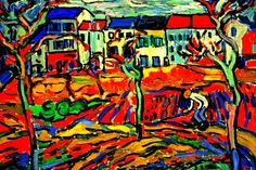 Vlaminck  'Like Van Go, he employed shrill colors as they came out from the tunes, but without stopping to think that their jarring intensity would stand in the way of color harmony,  that the result would be a roar rather than a song. In this early period V. Was an enraged Expressionist but without vision, an ecstatic Impressionist but without humility to the motif.'