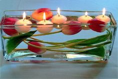 Floating tulips and candles, table centerpiece idea for Valentine's Day
