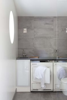 Concrete tiles in laundry room makes laundry a dream Concrete Tiles, Laundry Room Organization, Wall Tiles, Bathtub, Design, Bathrooms, Organizers, Project Ideas, Bathroom Ideas