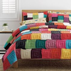 Yardley Quilt / Sham - Natural frayed edge patchwork squares give our handcrafted garment washed quilt a soft, comfy feel.