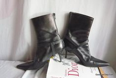 Vintage Leather Stiletto Ankle Boots 6 M Eur 36 UK 3 .5 Italy Helmut LANG  Black Harness