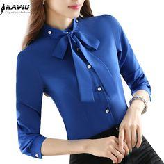 Slim bow fashion shirt women elegant stand collar long-sleeve chiffon blouse blue formal offce ladies plus size work wear tops