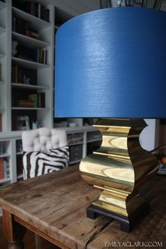 My $1 Brass Lamp + A Spray Painted Shade - Emily A. Clark