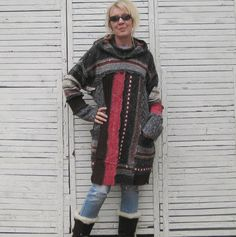 Plus Size/One Size Sweater, Long Sweater Tunic, Upcycled Sweater, Gray and Red, Outer-wear Quality Sweaters, Oversized sweaters