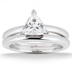 0.50 Cttw G VS Enhanced Trillion Cut Diamond 2 Piece Bridal Set Solitaire…