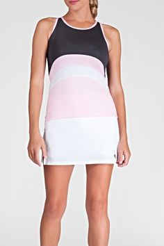 """The color of this top is Pink /Charcoal Grey and White. The top is 24"""" Long. It has a UPF Factor of 50. The top is intended for tennis but can be paired with cute shorts or workout pants.   Ladies Tennis Top by Tail Tennis. Clothing - Activewear Florida"""