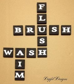 Flush, Brush, Wash, Aim - Bathroom Wall Decoration