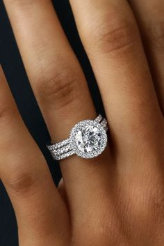 30 Wedding Ring Sets That Make The Perfect Pair ❤️ wedding ring sets three pave bands white gold round diamond halo ❤️ See more: http://www.weddingforward.com/wedding-ring-sets/ #wedding #bride #engagementrings #weddingringsets