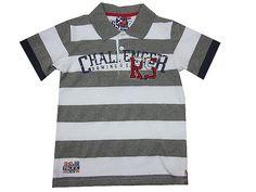 Polo de manga corta niño para en algodón con rayas en gris y blanco -  Camisas 71ddefe4646c1