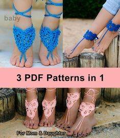 THREE CROCHET PATTERNS: Blue heart barefoot sandals for girl #14 + Barefoot Sandals and Bracelets #1 Diy Barefoot Sandals, Bridal Sandals, Bare Foot Sandals, Pdf Patterns, Crochet Patterns, Mom Daughter, Embroidered Flowers, Step By Step Instructions, Fashion Outfits