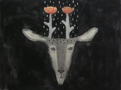 Flower Deer  Original Drawing by TetsuhiroWakabayashi on Etsy, $203.00