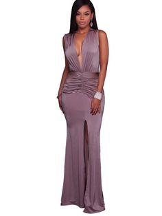 Ravishing Deep V-Neck Front Split Maxi Party Dress Summer Maxi 6b3ae5bd1