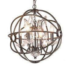 4-light Antique Bronze Metal Strap Globe Sphere Crystal Chandelier Ceiling Fixture - - Amazon.com
