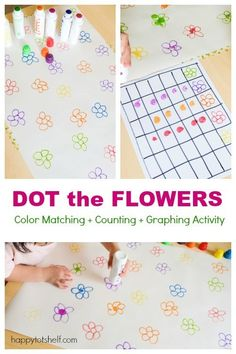 Dot the Flowers Color Matching Activity - Happy Tot Shelf Graphing Activities, Gross Motor Activities, Toddler Learning Activities, Color Activities, Infant Activities, Toddler Preschool, Preschool Activities, Teaching Colors, Simple Math