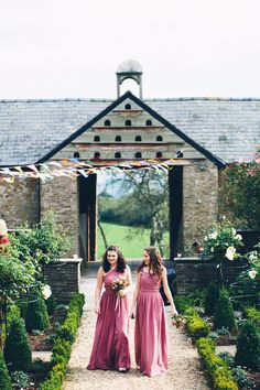 Floor length chiffon berry bridesmaid dresses - Image by Mister Phill - Johanna Hehir Wedding Dress For A Yurt Wedding In The Black Mountains With Groom In Tweed Waistcoat And Bespoke Suit By Clements And Church With Images By Mister Phill