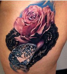 Diamond lace rose tat. So realistic