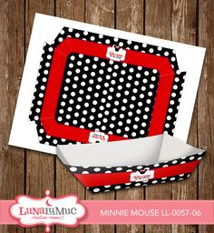 Minnie Mouse Food and Snack Trays Minnie Mouse Birthday Party Printables LL-0057-06